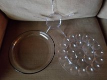New large glass bottom appetizer 3 piece tray in Temecula, California