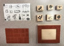 stampin up rubber stamp lot of craft stampers tag time holiday set flowers bee in New Lenox, Illinois