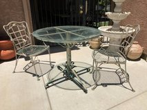 Vintage Wrought Iron Glass Top Distressed Patio Bistro Set in Travis AFB, California