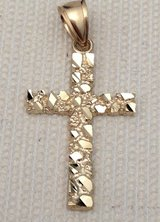 10k yellow gold nugget cross hip hop charm pendant unisex mens woman in Fairfax, Virginia