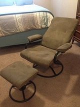 Sage/Black Microfiber/Microsuede Swivel Recliner with Ottoman in Lackland AFB, Texas
