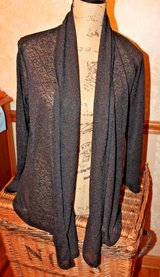 Ellen Tracy Black Drape Sweater, Delicate Open Knit, Polyester/Spandex, Petite Small in Aurora, Illinois