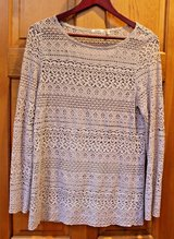 Beautiful Dylan Taupe Open Weave Long Sleeve Top, Small, Cotton/Polyester in Westmont, Illinois