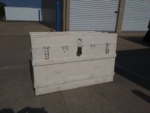 Antique White Steamer Trunk in Fort Leavenworth, Kansas