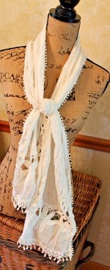 Pretty Persuasions Natural Color Cotton Scarf, Lace Insert, 64 x 12 in in St. Charles, Illinois