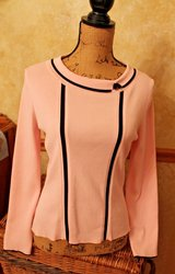 Sweet Grace Dane Lewis Petite Pink Knit Sweater Top, Black Accents, Petite Small in St. Charles, Illinois