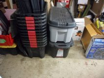 Husky 35 Gal. Latch and Stack Tote Black Large Heavy Duty Storage in Bartlett, Illinois