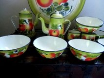 antique fruit enamel ware enamelware set of 16 pieces 6 bowls platter 5 cups ++ in Brookfield, Wisconsin