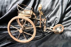 Old Homemade tricycle curio wood and metal display in Camp Lejeune, North Carolina