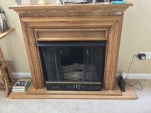 Oak Fireplace - real flames with screen and mantle in Schaumburg, Illinois