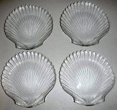 Like New!  Set of 4 Clam Sea Shell clear glass Plates / Dishes in Joliet, Illinois