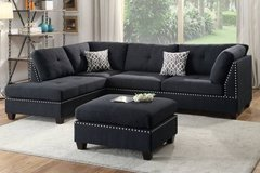 New! Black Linen Sectional + Ottoman  FREE DELIVERY in Miramar, California