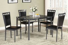 Dark Marble Finish Metal Dining Table + 4 Chairs Set FREE DELIVERY in Miramar, California