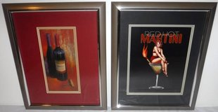 (2) Framed Bar Art - Merlot Wine Bottle + Woman in Martini Glass in Naperville, Illinois