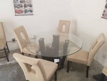 New! West Palm Glass Round Table + 4 Linen Chairs FREE DELIVERY in Miramar, California