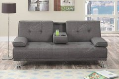 New! Linen Gray Sofa Adjustable Bed Futon + Cup Holder FREE DELIVERY in Miramar, California