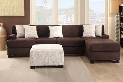 New Microsuede Brown Sofa Chaise Sectional + Ottoman FREE DELIVERY in Miramar, California