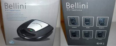 Like New! Bellini 6n1 - Waffle Sandwich Donut Grill Square Sandwich & Omelet Maker in Naperville, Illinois