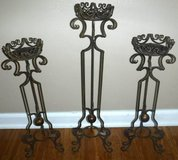3 Bronze / Brown Metal / Wrought Iron Pillar Candle Holders in Westmont, Illinois