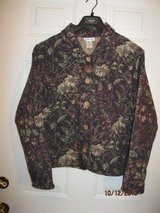 coldwater creek tapestry jacket, xl, purple floral foliage 24 button in Bartlett, Illinois