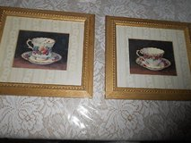 2) SIGNED BARBARA MOCK TEA CUP PRINTS! FRAMED AND DOUBLE MATTED! in Bellaire, Texas