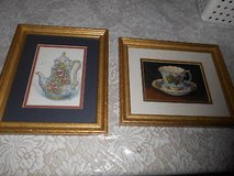 2) SIGNED BARBARA MOCK TEA CUP PRINTS! CUSTOM MATTED AND FRAMED! in Bellaire, Texas