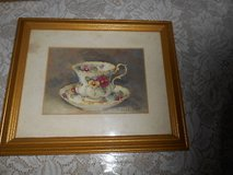 "(1) SIGNED BARBARA MOCK TEA CUP PRINT! CUSTOM MATTED AND FRAMED! GOLDTONE FRAME IS 9.5""W X 11.5"" in Bellaire, Texas"