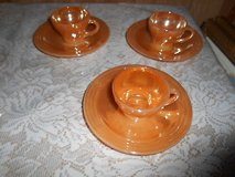 "Vintage Anchor Hocking FIRE KING Small 3 Tea Cups + 3 Saucers ""Peach Lustre"" 6pc set in Kingwood, Texas"