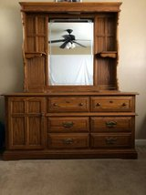Solid Wood Long Dresser with Hutch Mirror in Travis AFB, California
