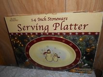"ROYAL SEASONS Snowman Serving Dish!  14""  Stoneware Dish in Bellaire, Texas"