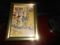 "Small Goldtone Framed Print: 'Red Hat Society Members"" Artist Signed 4"" x 6"" Picture in Bellaire, Texas"