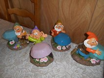 4) New Disney Snow White  Dwarf SOLAR Garden Gnomes! Bashful, Dopey, Doc, Happy in Bellaire, Texas