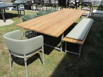 Teak Outdoor 9.5'L Table, Bench & 4 Chairs - Merchandise Mart Sample in Schaumburg, Illinois