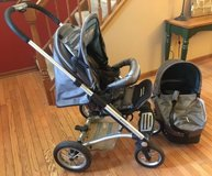 Mutsy stroller & bassinet 4rider cargo grey collection single seat baby in Plainfield, Illinois