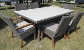 SALE Merch Mart Floor Sample - White Stone Topped Outdoor Dining Table and 6  Chairs in Westmont, Illinois