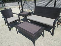 "Outdoor ""Wicker"" Loveseat, Cocktail Table, Chair, Side Table in Schaumburg, Illinois"