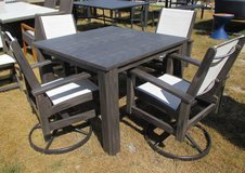 """Wood"" Outdoor Dining Table & 4 Swivel Chairs - Merch Mart Sample in Schaumburg, Illinois"