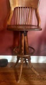 antique maple drafting draftsman chair swivel wood mortise tenion spindle back in Lockport, Illinois