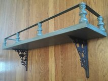 Wall Shelf Rustic Distressed Wood with Cast Iron Brackets in Yorkville, Illinois