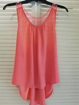 Coral colored razor backed beaded sheer top in Temecula, California