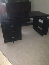 Vintage Black Painted Wood Bookcase 2-Drawer Desk in Lackland AFB, Texas