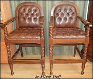 Pair of Bar Height Leather Stools in The Woodlands, Texas