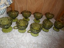 9pc Vintage Olive Green Indiana Glasses ( dessert and cups w/ handles)! in Kingwood, Texas
