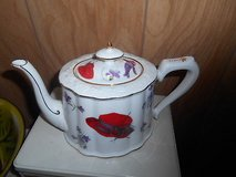 White Porcelain Teapot - Red Hat! Great condition with no chips, cracks, or scratching. in Kingwood, Texas