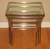 Gold Colored Metal and Glass 3 Piece Nesting Tables in Naperville, Illinois