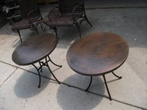 SET OF 2 METAL POUNDED TABLES,IRON BASE in Naperville, Illinois