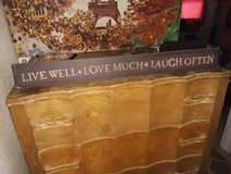 """""""Live Well, Love Much, Laugh Often"""" Hanging Wood Sign in Travis AFB, California"""