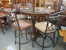SALE Merchandise Mart Floor Sample - Tall Wood and Glass-top Pub Table,  Misc Tall Chairs in Elgin, Illinois