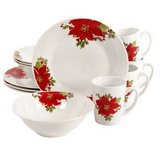 New! Noble Poinsettia 12 Pc Ceramic Christmas Holiday Dinnerware Set in Lockport, Illinois