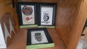 collection of framed rat fink decals in Lake Elsinore, California